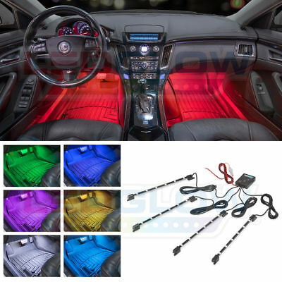 LEDGLOW 4pc 7 COLOR LED INTERIOR LIGHT KIT for ALL CARS ACCENT NEON GLOW LU-47C