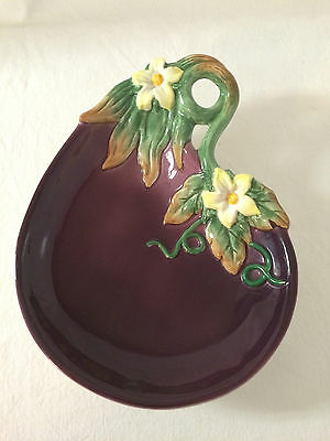 Vintage  Fitz and Floyd Majolica Style EGGPLANT Canape Plate  Rare Handcrafted