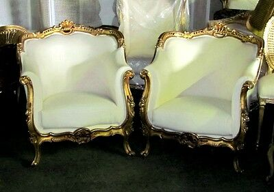 Pair of Ornate Grand Italian Gilded Baroque Bergere Chairs