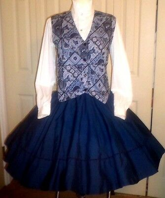 OM2 Beaded blue-black floral square dance vest w/coordinated blouse & navy skirt