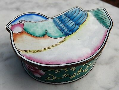 vintage Chinese CANTON ENAMEL BIRD TRINKET BOX Hand-Painted Knobler Int'l Ltd