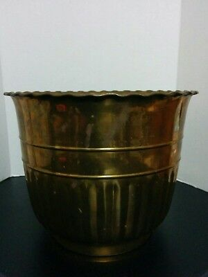 LARGE Vintage Polished BRASS  Flower / Tree  Floor Planter POT Tub Styrofoam