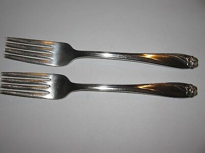 "Daffodil IS International Silver Co. 2 Dinner Forks 7 1/2"" EXC"