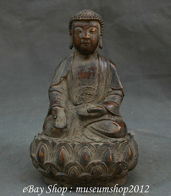 "10""Tibet Tibetan Temple Old Purple Bronze Pray Shakyamuni Buddha On lotus Statue"