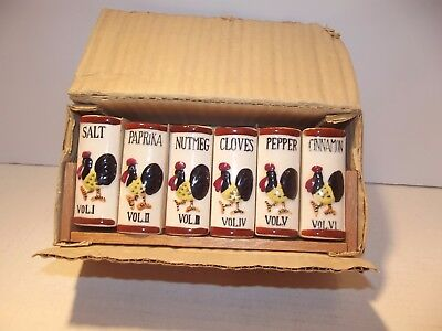 Vintage Spice Rack Bookshelf Style with Ceramic Rooster Motif Shakers Japan