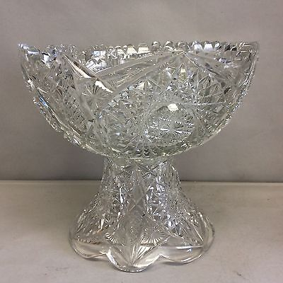 American Brilliant Cut Glass 2 Piece Punchbowl