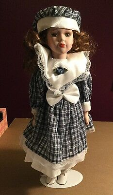 """Princess Collection Porcelain Doll 16"""" Girl In Blue Plaid Dress With Stand"""