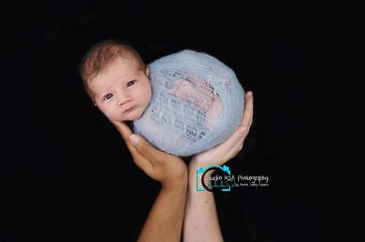 Baby Blue Knitted Newborn Baby Wrap - Photography Photo Prop - Stretch Knit