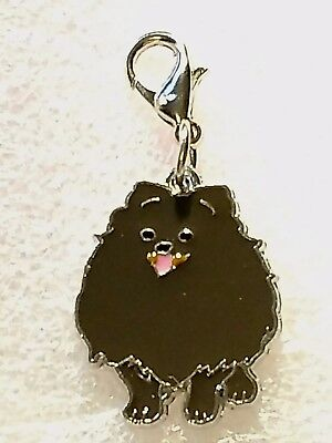 Dark Brown Spitz Dog Pup Bag Purse Charm Dangle Zipper Pull