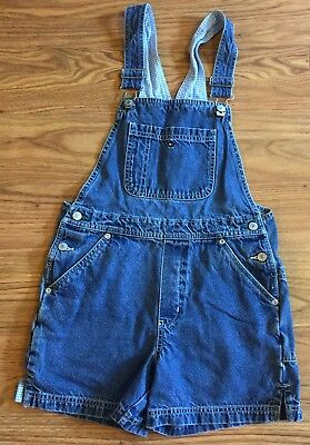 Tommy Hilfiger Girls Denim Bib Overalls Shorts TOMMY JEANS Size Large Vintage