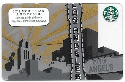 """Starbucks City Gift Card """"Los Angeles City of Angels"""" 2014 Mint"""