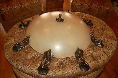 "Gorgeous Inverted Alabaster 1/2"" Marble Dome 12 Light Chandelier W/Bronze Swans"