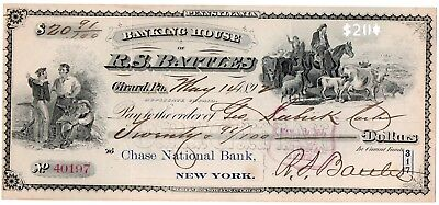 1908 Banking House Of R.s. Battles, Girard, Pa. Old Bank Check Horse Scene Used.