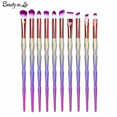 10PCS Diamond Unicorn Eyeshadow Eyebrow Blending Brush Set Eye Makeup Brushes US