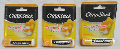 Lot Of 3 Chapstick Orange Cream Burst, Brand New Free Shipping W/ Fast Ship-Out