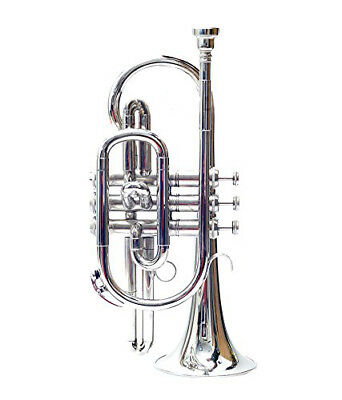 NEW Bb PITCH SILVER NICKEL PLATED CORNET FREE HARD CASE+MOUTHPIECE+FAST SHIPPING