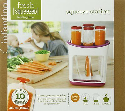 Infantino Squeeze Station Baby Food Maker Fresh Squeezed Storage Feeding Pouches
