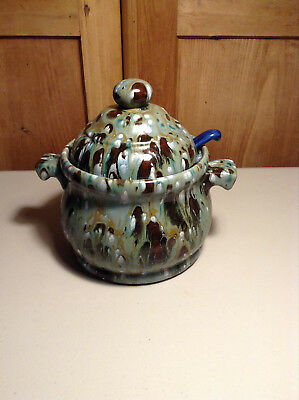 Vintage California Pottery Signed by Doris Soup Tureen With Ceramic Spoon