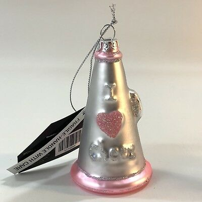 CHEER MEGAPHONE CHEERLEADER OLD WORLD CHRISTMAS GLASS ORNAMENT NWT 44149