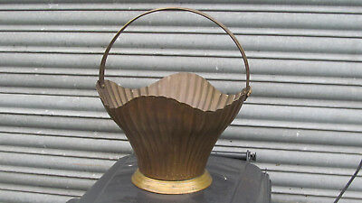 Vintage Hand Made  Tub Planter Plant Pot Brass Handle Bin Garden Old Fire Basket