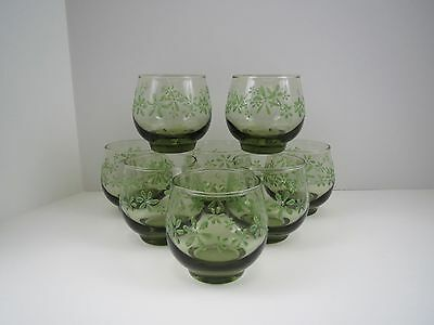 8 ReTrO Libbey MINT BOUQUET Old Fashioned Glasses OLIVE GREEN TEXTURED FLOWERS