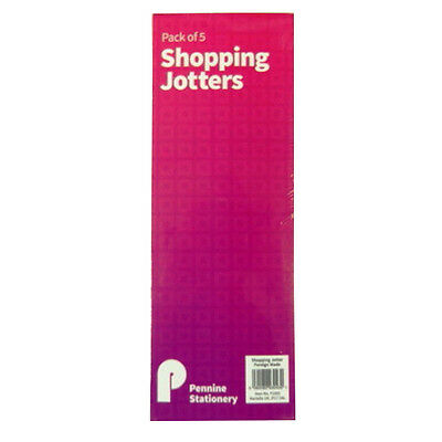 Slim Shopping Jotters or To Do List Notepads - Pack of 5 - Size 210mm x 74mm