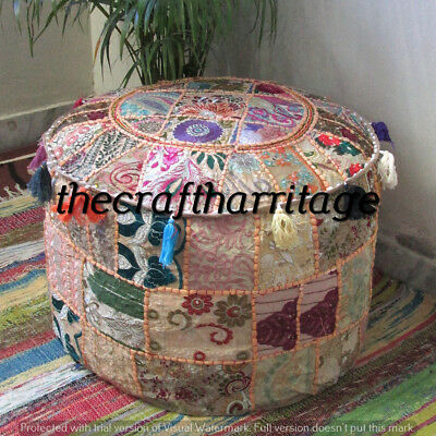 Indian Round Pouf Cover Ottoman Foot Stool Vintage Patchwork Living Room Ottoman