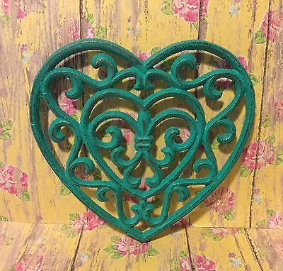 Cast Iron Ornate Shabby Chic Beachy Turquoise Heart Trivet Decor Love Rustic