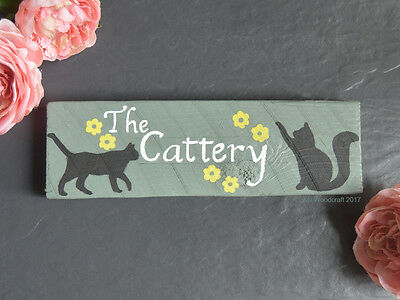 Personalised Wooden Cattery Cat Kitten Name Plaque Sign Tower House Bed Food