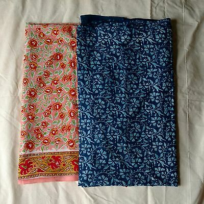 Cotton Lot OF 2 Pcs Of 3 Yard Hand Block Print Handmade Indian Jaipuri Fabric o2
