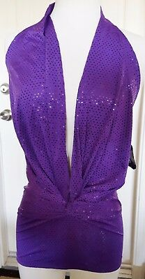 NEW! STARS Dancewear Adult S, Purple Sparkly V-Neck Halter TOP
