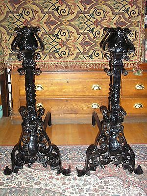 Monumental Pair of Antique Arts And Crafts Wrought Iron Andirons