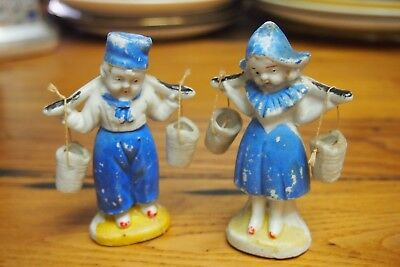 Vintage Ceramic Dutch Boy and Dutch Girl with yoke carrying buckets