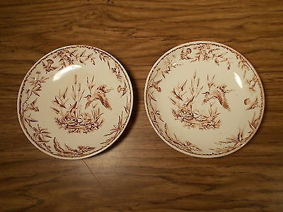 2 Old 1877 Ridgways Aesthetic Brown Transfer Indus Plate, Bowls, Dishs 6 1/4