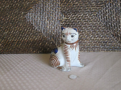 Decorative cat figurine grey colorful abstract floral design pottery Mexico
