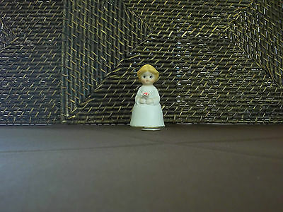"""Decorative bell girl holding rose figurine colorful design 3.75"""" tall"""