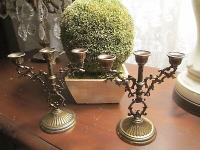 Vintage Pair of Brass CANDELABRAS Made in ITALY very old in original box