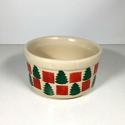 RRP Co. Roseville USA Small Christmas Crock Pottery Stoneware Hand Stenciled