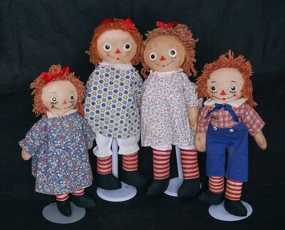 Collection of 4 Gorgene Raggedy Ann's & Andy Cloth Dolls