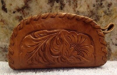 Vintage Hand Tooled Leather Coin Purse w/ roses flowers leaves Retro Boho