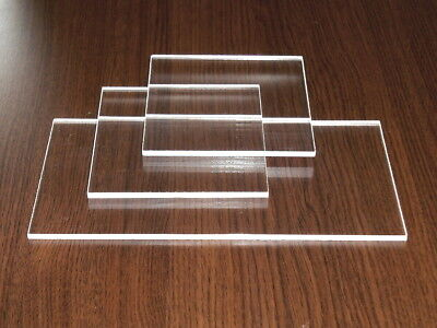 3...10 mm Clear Acrylic Perspex Sheet Strips - 40/42 mm wide - Offcuts w.Film