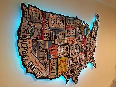 License Plate Map of The United States Pub Bar ManCave Recycled Art USA
