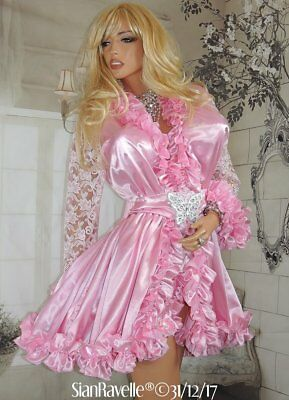 Sian Ravelle Luxury Pink Satin Lace Frilly Sissy Baby Doll
