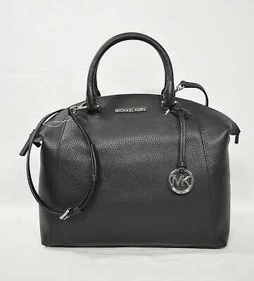 NWT! Michael Kors Riley Large Satchel/Shoulder Bag in Black with Silver Hardware