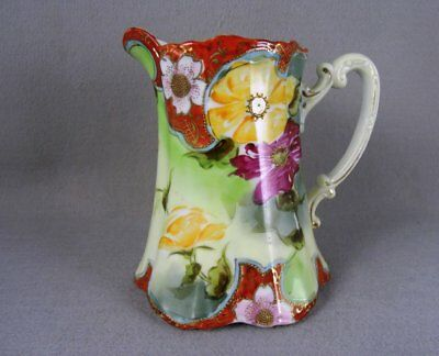 Vintage Pitcher  Hand Painted Jeweled Floral Gold Trim Red Yellow