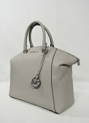 Michael Kors Riley Large Satchel/Shoulder Bag in Pearl Grey with Silver Hardware