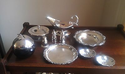 Condiment accessories in silverplate misc pieces