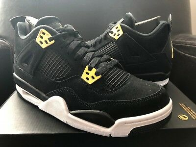 Jordan Retro 4 IV Royalty Black Gold Suede GS Youth Nike Air Bred Cement 1 3 11