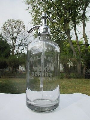 Reliable Home Service Clear Etched Seltzer Water Czech Glass #2