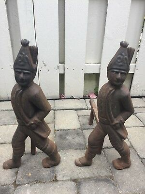 "Antique Set Of 2 Fireplace Andirons Heavy Cast Iron Hessian Soldier 19.5"" Tall"